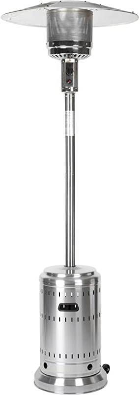 AmazonBasics Commercial  Propane 46 000 BTU  Outdoor Patio Heater with Wheels  Stainless Steel