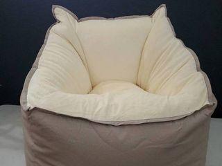 lUX Big Joe Cream and Tan Bean bag chair 27 in height x 26in length x 26 in  width