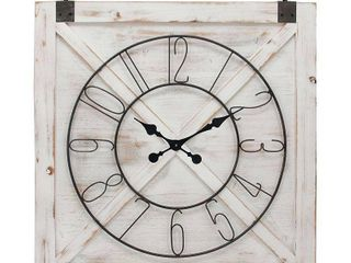 27  x 29  Farmhouse Barn Door Wall Clock Weathered White   FirsTime   Co   some damage see photos