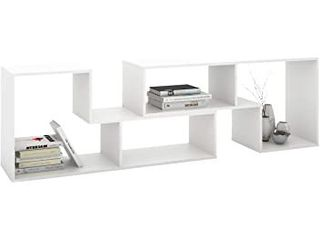 DEVAISE TV Console Stand  Modern Entertainment Center Media Stand  TV Table Storage Bookcase Shelf for living Room  0 59  Thick  White