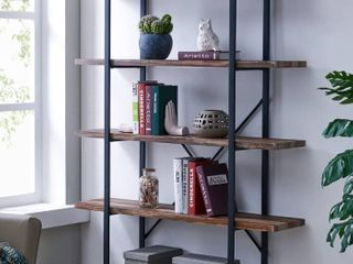 Homissue 5 Tier Bookcase  Vintage Industrial Wood and Metal Bookshelves for Home and Office Organizer  Retro Brown
