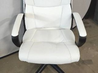 AmazonBasics leather Padded  Ergonomic  Adjustable  Swivel Office Desk Chair with Armrest  White