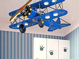 lITFAD Airplane Modern Art Deco Pendant light Cartoon Biplane 8 lights Chandelier Navy Blue Metal lED Suspended light for Amusement Park living Room Boys Bedroom Children s Room