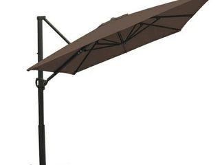 Abba Patio 8 x 10ft Offset Patio Umbrella Rectangular Cantilever Outdoor Hanging Umbrella with Crank   Easy Tilt   Cross Base for Garden  Deck  Backyard  Pool  Cocoa
