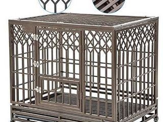 SMONTER Heavy Duty Dog Crate Strong Metal Pet Kennel Playpen with Two Prevent Escape lock  large Dogs Cage with Wheels  Y Shape