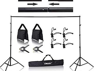 Emart 8 5 x 10 ft Photo Backdrop Stand  Adjustable Photography Muslin Background Support System Stand for Photo Video Studio NO ClAMPS