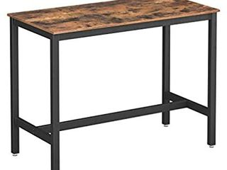 VASAGlE AlINRU Dining Table  Bar Table with Steel Frame  Multifunctional Desk for Dining Room or living Room  Industrial Accent Furniture  Rustic Brown and Black UlBT91XV1