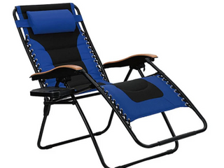 PHI VIllA   padded zero gravity chair xl with Wooden pattern armrest blue    not Inspected