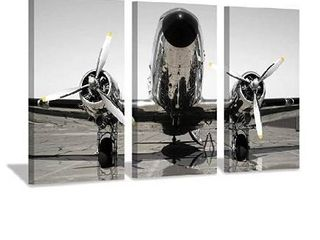 Aircraft Propeller Canvas Wall Art  Retro Airplane Photographic Print for Men Rooms or Office Decoration  26  x 16  x 3 Panels