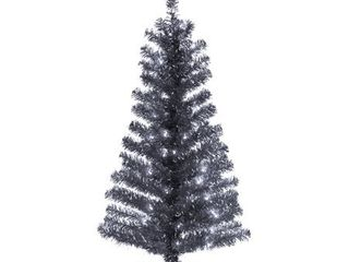 4ft National Christmas Tree Company Black Tinsel Artificial Pencil Christmas Tree 70ct Clear