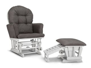Graco Parker Semi Upholstered Glider and Ottoman White with Gray Cushions