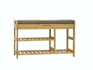 C AHOME Bamboo Shoe Rack Bench 3 Tier Free standing Shoe Storage Natural BXDN80l