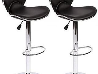 BestOffice Set of 2 Bar Stools PU leather Modern Hydraulic Swivel Dinning Chair