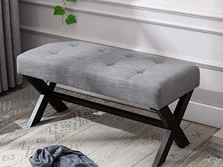 chairus Fabric Upholstered Entryway Bench Seat  Gray 36 inch Bedroom Bench Seat with X Shaped Wood legs for living Room  Foyer or Hallway actual product may vary from stock photo