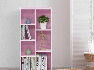 Furinno 11048 7 Cube Reversible Open Shelf  White Pink