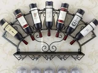 Sorbus Wine Bottle Stemware Glass Rack Wall Mounted   Bordeaux Chateau Style   7  Not Inspected