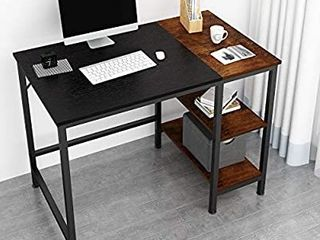 JOISCOPE Home Office Computer Desk Small Study Writing Desk with Wooden Storage Shelf 2 Tier Industrial Morden laptop Table with Splice Board color may vary from stock photo