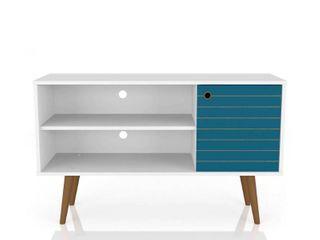 42 52  liberty Mid Century Modern TV Stand with 2 Shelves and 1 Door White Aqua Blue   Manhattan Comfort DAMAGED