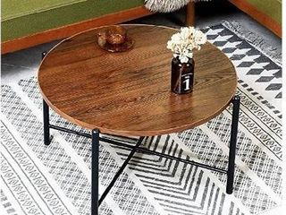 Aingoo Round Coffee Table Industrial Rustic Solid Wood Cocktail Accent Tablei1 4Sofa Table with X Metal Frame for living Roomi1 4Entertainment Center for Gaming Computer Office Desk Easy Assembly Brown
