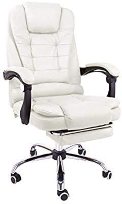Halter Reclining leather Office Chair Modern Executive Adjustable Rolling Swivel  CREAM  DIRTY
