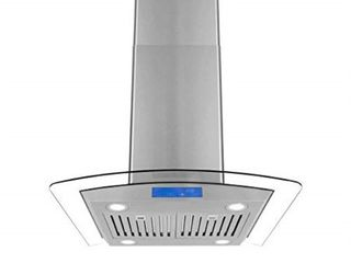cosmo cos 668ics750 30 in island range hood 900 cfm  ceiling mount chimney style over stove vent with light  permanent filter  3 speed exhaust fan timer  duct convertible to ductless  stainless steel