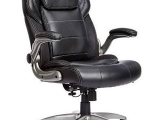 AmazonCommercial Ergonomic High Back Bonded leather Executive Chair with Flip Up Arms and lumbar