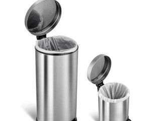 NineStars 30l   5l Stainliness Steel Step On Trash Cans USED