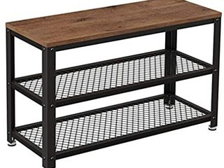 ASAGlE Shoe Bench  3 Tier Shoe Rack  Storage Shelves with Seat  for Entryway  living Room  Hallway  Accent Furniture  Steel Frame  Industrial Design  Hazelnut Brown and Black