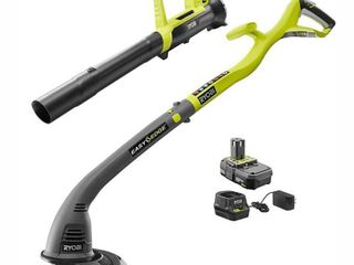 ONE  18 Volt lithium Ion String Trimmer Edger and Blower Combo Kit 2 0 Ah Battery and Charger Included