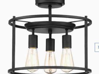 Quoizel Wolfeboro 14 in Matte Black Farmhouse Semi flush Mount light