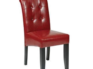 Parsons Tufted Button Back Chair  Crimson Red