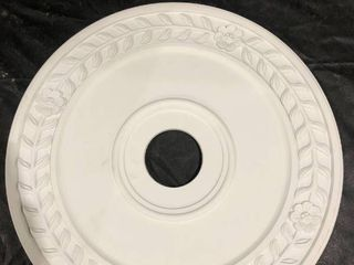 White Decorative Wooden Circle With Flower Pattern
