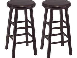2pc 24  Oakley Swivel Seat Counter Height Barstools Set Dark Espresso   Winsome