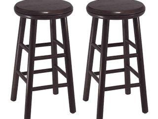 2pc 24  Oakley Swivel Seat Counter Height Barstools Set Dark Espresso   Winsome