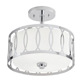 Kichler lighting 12 24 in W Chrome Frosted Glass Semi Flush Mount light