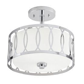 Kichler lighting 12 24 in W Chrome Frosted Glass Semi Flush Mount light