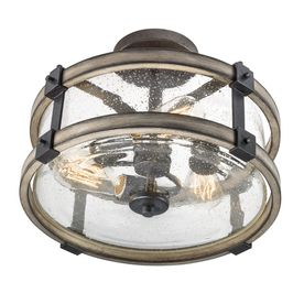 Barrington Anvil Iron and Driftwood Clear Glass Semi Flush Mount Rustic light