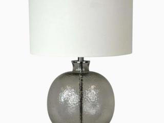 Scott living Table lamp 26in Smoke Glass White linen Shade