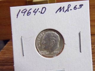 1964 D ROOSEVElT DIME MS63