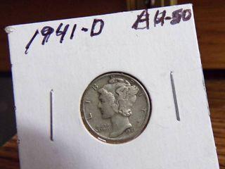 1941 D MERCURY DIME AU50