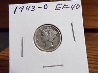 1943 D MERCURY DIME EF40