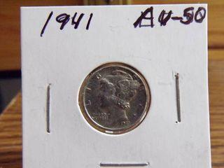 1941 MERCURY DIME AU50