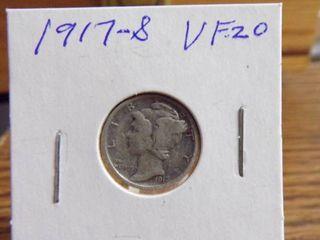 1917 S MERCURY DIME VF20