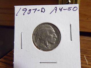 1937 D BUFFAlO NICKEl AU50