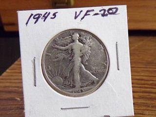1945 WAlKING lIBERTY HAlF DOllAR VF20