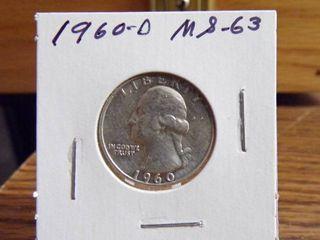 1960 D WASHINGTON QUARTER MS63