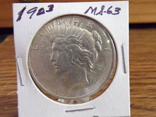 1923 PEACE SIlVER DOllAR MS63