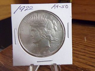1922 PEACE SIlVER DOllAR MS50