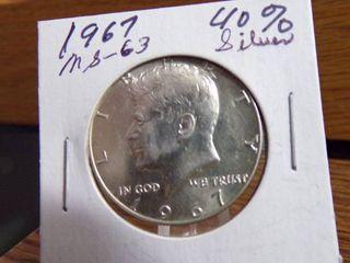 1967 KENNEDY HAlF   40  SIlVER MS63
