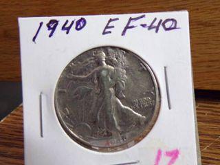 1940 WAlKING lIBERTY HAlF DOllAR EF40